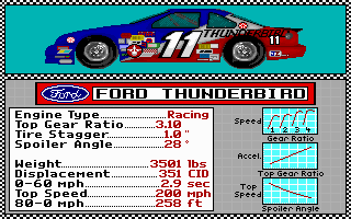 Bill Elliott's NASCAR Challenge DOS Car selection 1