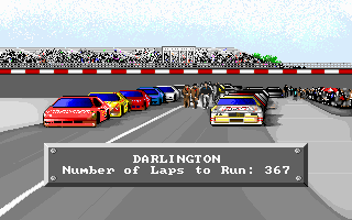 Bill Elliott's NASCAR Challenge DOS Typical start screen for a race