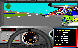 Bill Elliott's NASCAR Challenge DOS Cockpit view, with infobox. The game includes Buicks, Oldsmobiles and Mercurys, because they all were a part of NASCAR in 1991.
