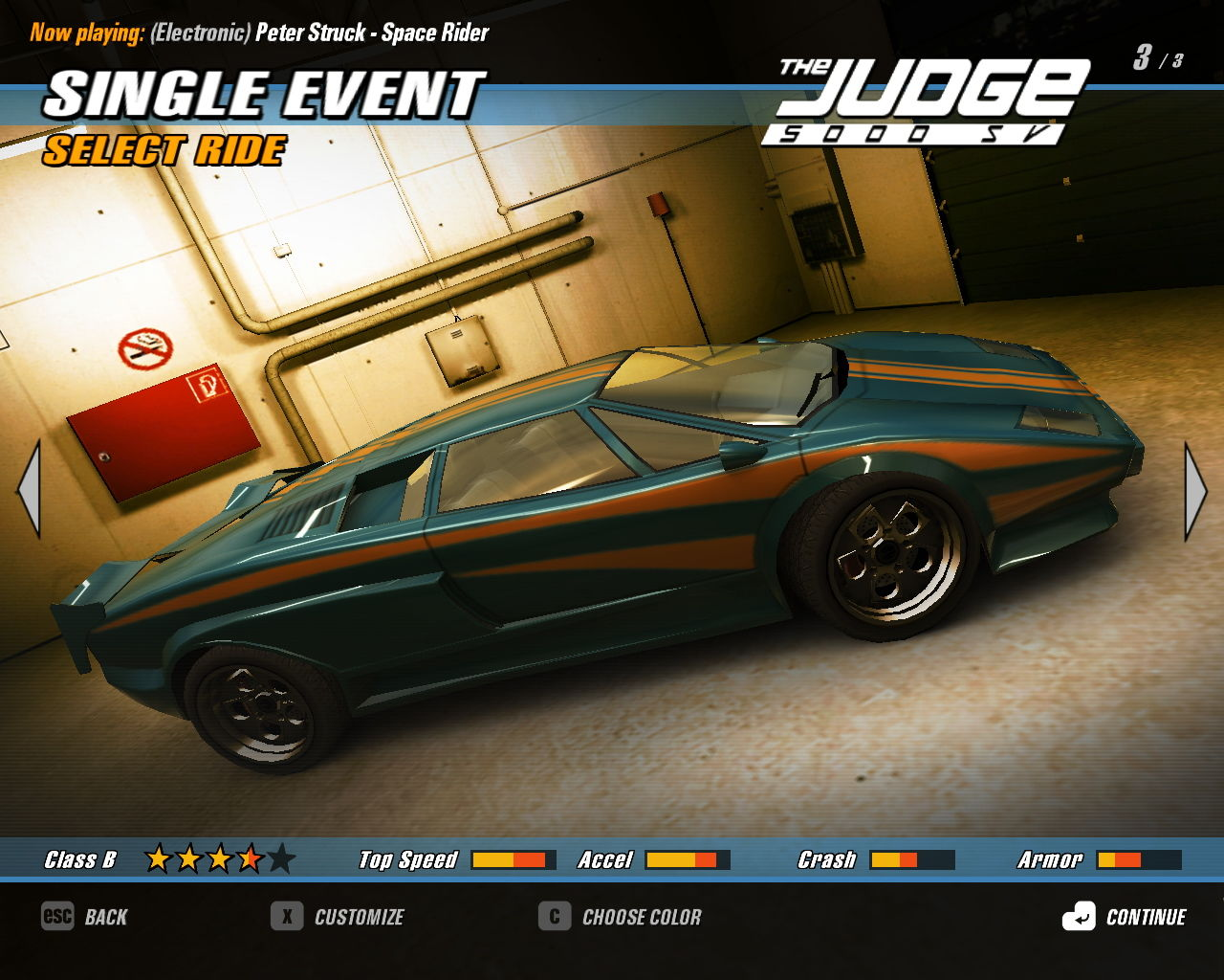 Crashday Windows The vehicle selection screen, here the Lamborghini Countach has been renamed to the Judge due to licensing reasons :)