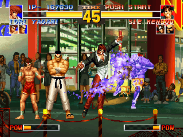The King of Fighters '95 PlayStation Iori Yagami ends Sie Kensou's counter-attack (?) with a single hit of his anti-air move Dark Thrust.