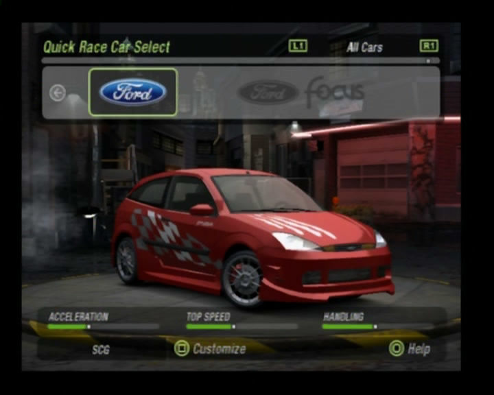 Need for Speed Underground 2 PlayStation 2 Red Ford Focus