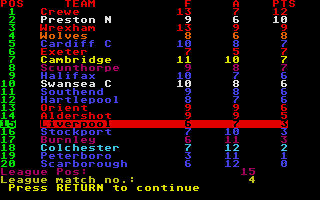 Football Manager Atari ST Which moves us up the table