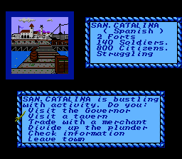 Sid Meier's Pirates! NES Visiting Santa Catalina.