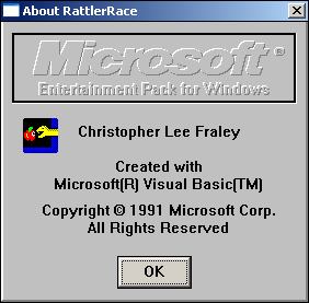 "Rattler Race Windows 3.x ""About"""