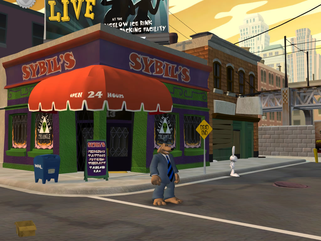 Sam & Max: Episode 2 - Situation: Comedy Windows Outside Sybil's - note her former professions.