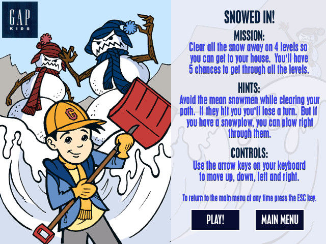 Snow Day: The GapKids Quest Windows Instruction screen for Snowed In