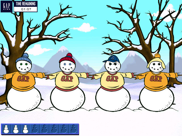 Snow Day: The GapKids Quest Windows Snowmen fashionably clad in Gap apparel