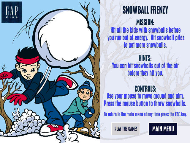Snow Day: The GapKids Quest Windows Snowball Frenzy instruction screen