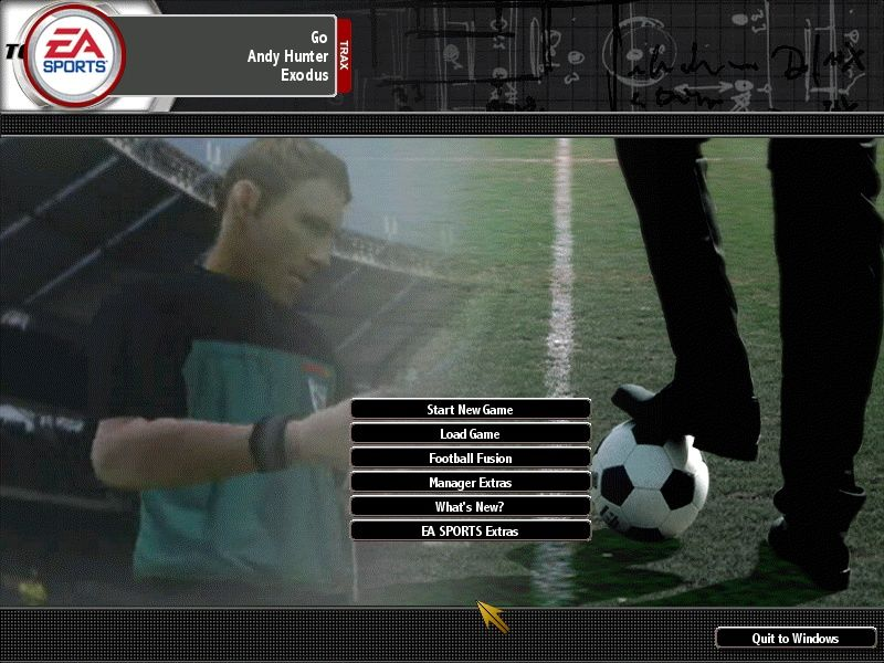 "Total Club Manager 2004 Windows Main menu. The interface was designed keeping the infamous ""EA Trax"" as unobtrusive as possible."