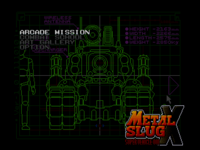 Metal Slug X PlayStation Menu screen