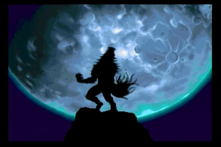 Night Warriors: Darkstalkers' Revenge SEGA Saturn John Talbain the wolfman kicks off the intro against the full moon