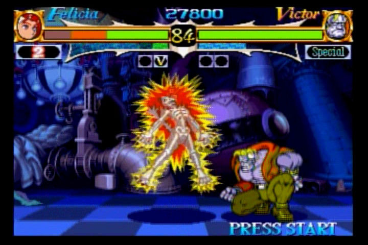 Night Warriors: Darkstalkers' Revenge SEGA Saturn Victor shocks Felicia