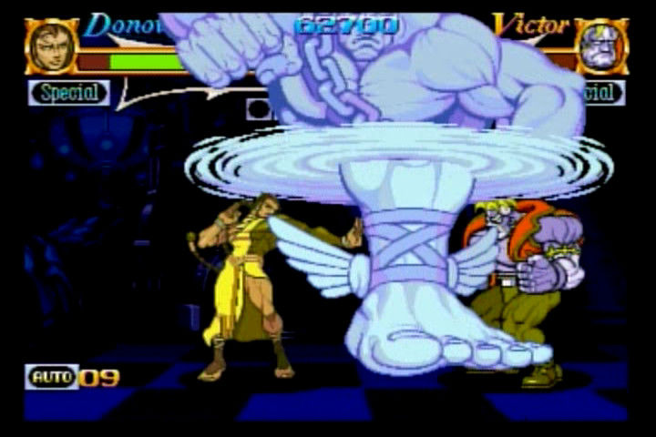 Night Warriors: Darkstalkers' Revenge SEGA Saturn Donovan vs. Victor, Donovan summons a particularly powerful attack