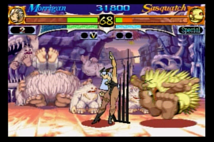 Night Warriors: Darkstalkers' Revenge SEGA Saturn Morrigan vs. Sasquatch