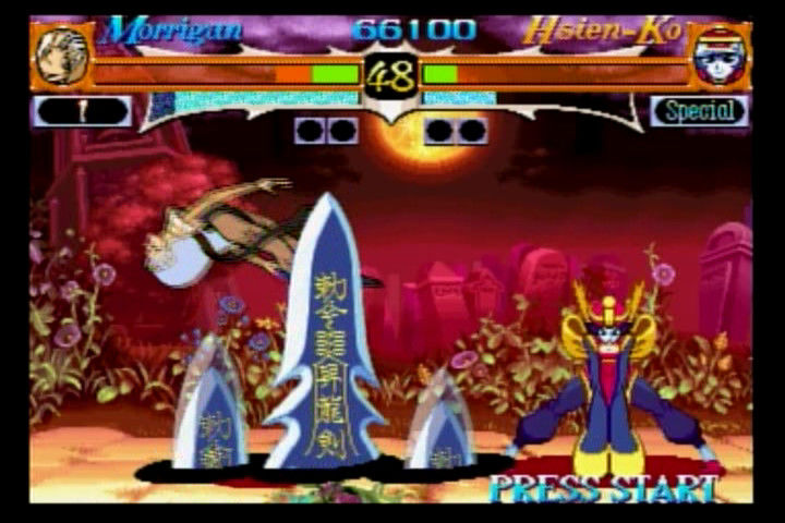 Night Warriors: Darkstalkers' Revenge SEGA Saturn Morrigan vs. Hsien-Ko