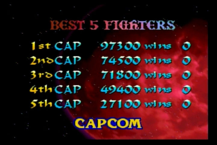 Night Warriors: Darkstalkers' Revenge SEGA Saturn High score board