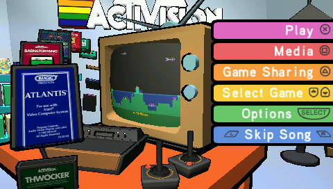 Activision Hits Remixed PSP Main menu - Here you can select what game you wish to play or see information about.
