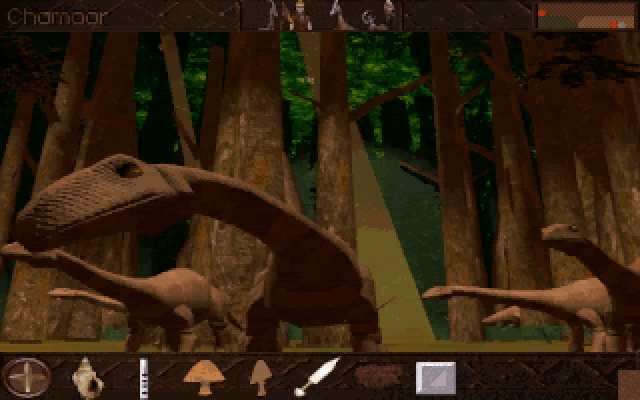 Lost Eden DOS Brontosaurus helping you to build a citadel
