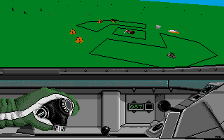 F-16 Combat Pilot Amiga Looking down on a military base.