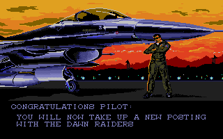F-16 Combat Pilot Amiga I've been promoted and assigned to another squadron.