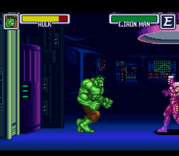 Marvel Super Heroes in War of the Gems SNES Hulk faces down Evil Iron