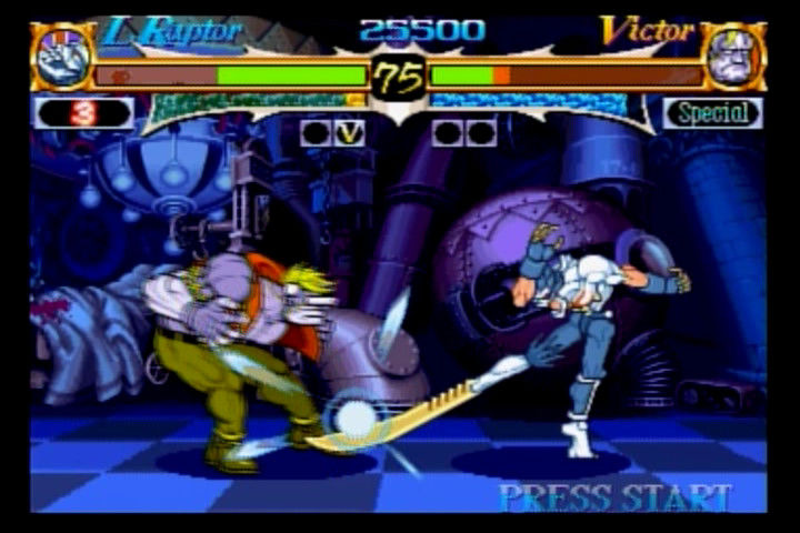 Night Warriors: Darkstalkers' Revenge SEGA Saturn Lord Raptor vs. Victor