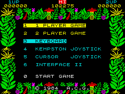 Sabre Wulf ZX Spectrum Main menu
