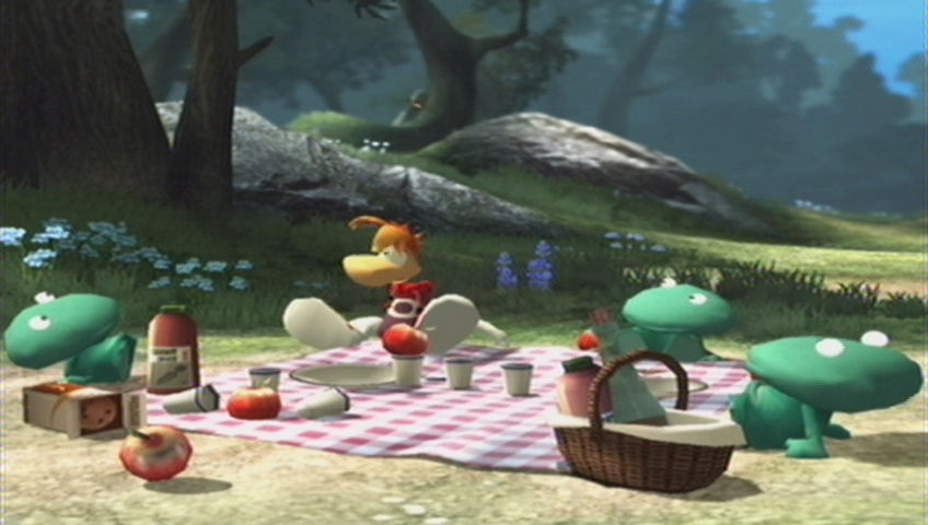 Rayman Raving Rabbids Wii Rayman and the baby Globoxes are having a picnic...