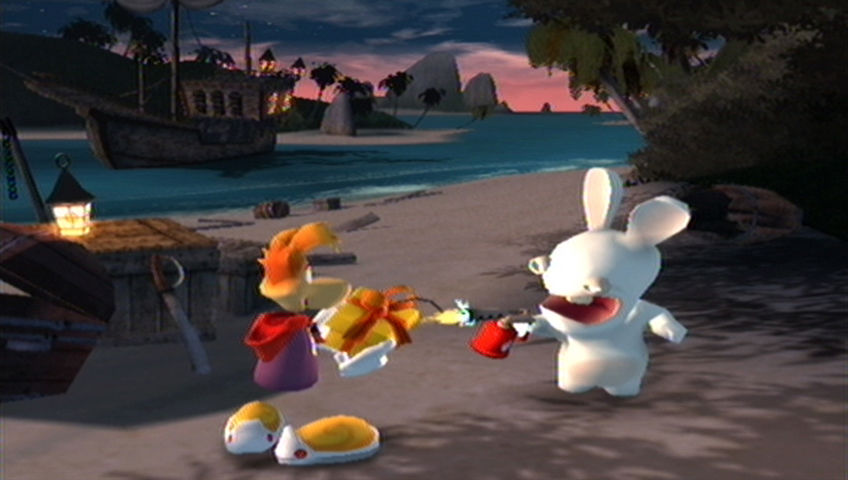 Rayman Raving Rabbids Wii A Rabbid lights the explosive present.