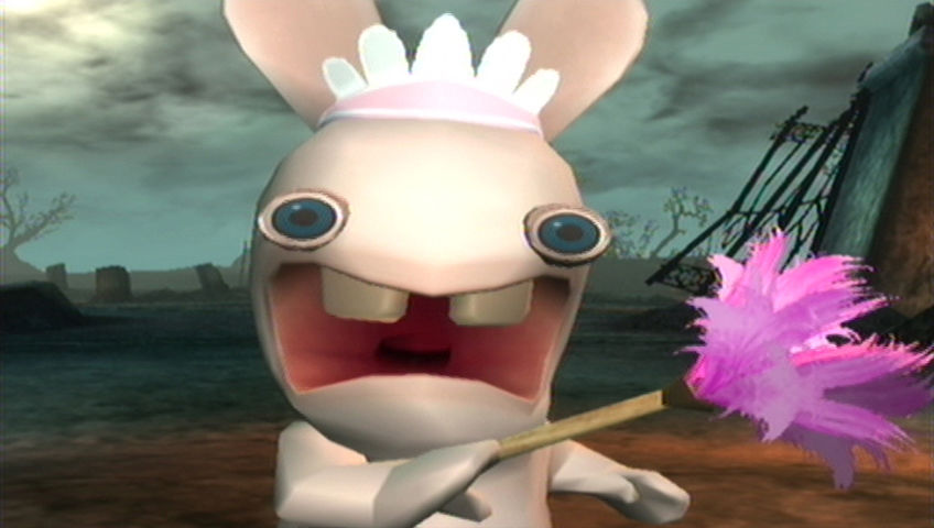 Rayman Raving Rabbids Wii A Rabbid is...dusting...a...cow?