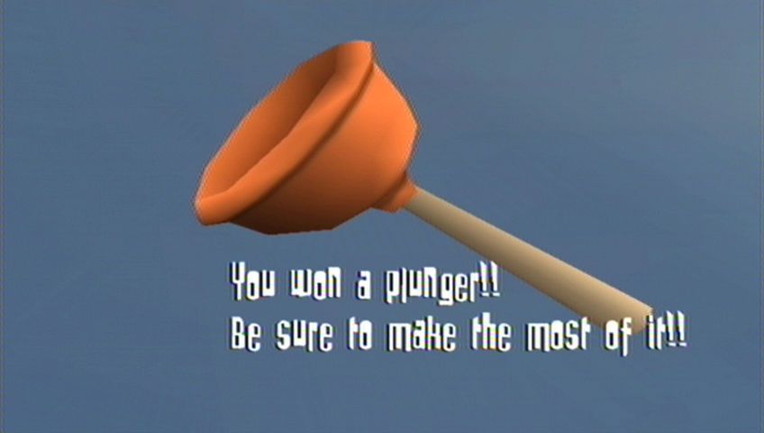 Rayman Raving Rabbids Wii Beating the final test earns you a plunger!