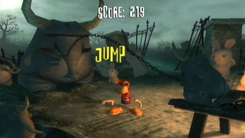 Rayman Raving Rabbids Wii Jump rope with frightening gargoyles.
