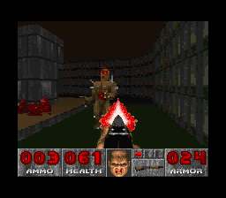 DOOM SNES Running across a damage floor.  It's just green.  There are no textures.