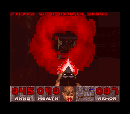 DOOM SNES Getting hit by an imp fireball