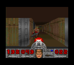 DOOM SNES Using a chaingun on a single zombie is overkill.