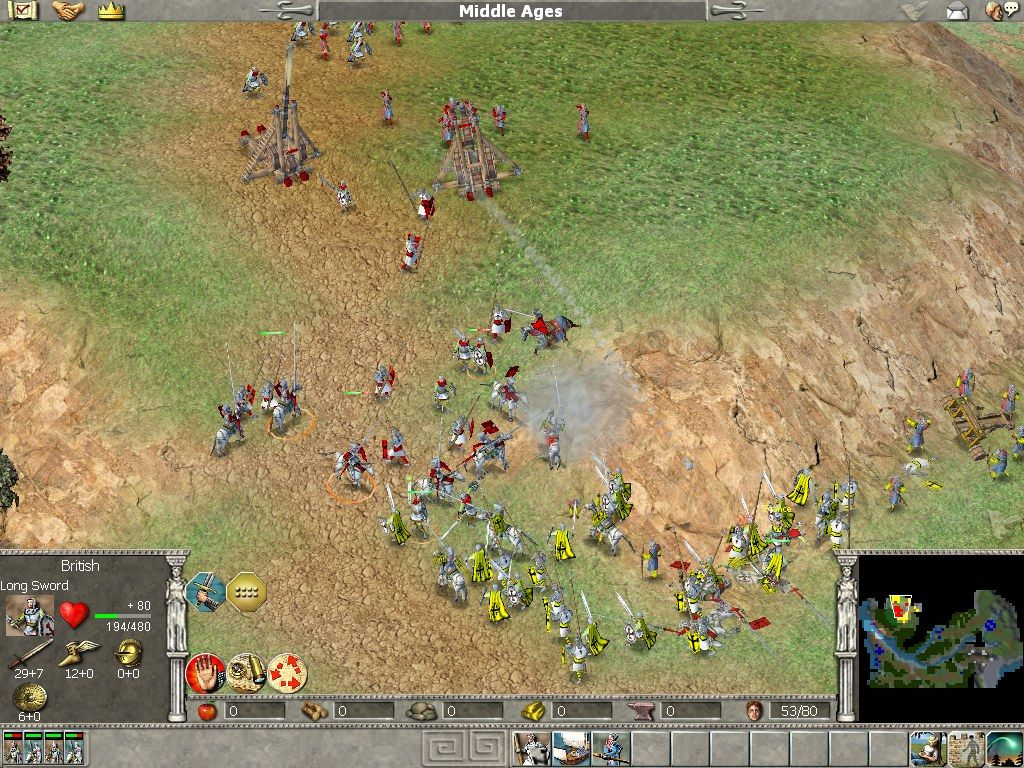 Empire Earth Windows Battle tactics throughout time: Medieval knights and catapults...