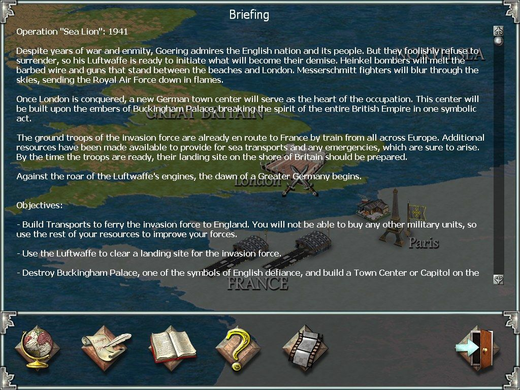 Empire Earth Windows Text briefings explain the campaign mission.