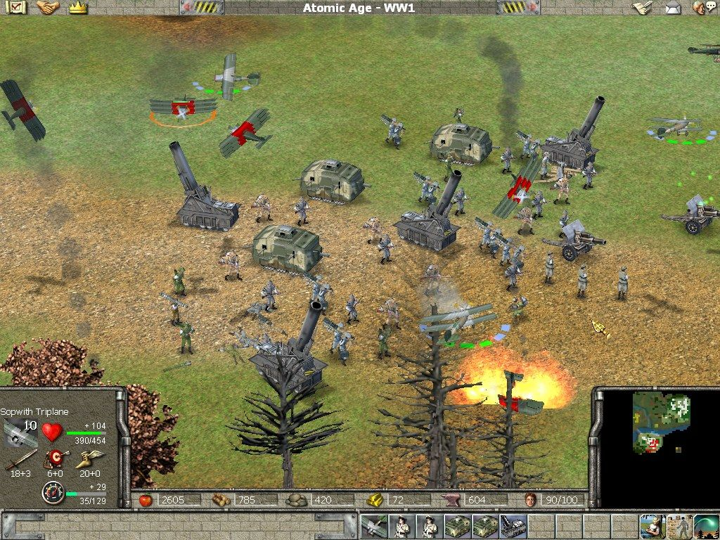 Empire Earth Windows Airplanes battle it out above the German army.