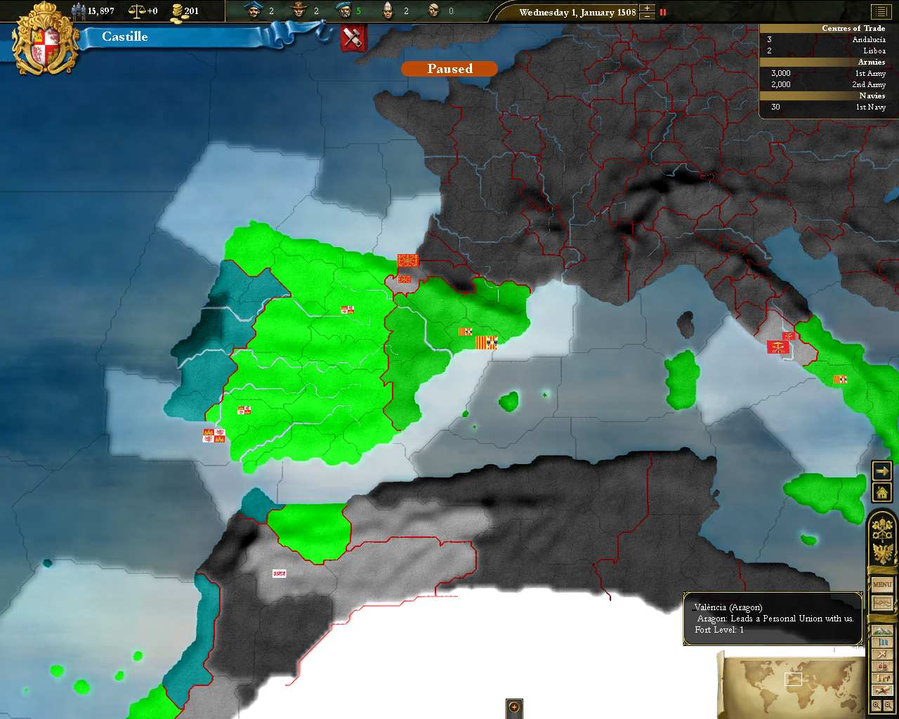 Europa Universalis III Windows Diplomacy map overlay, selected country in bright green, its allies in green, its royal marriages in turquise and countries it is at war against in red.