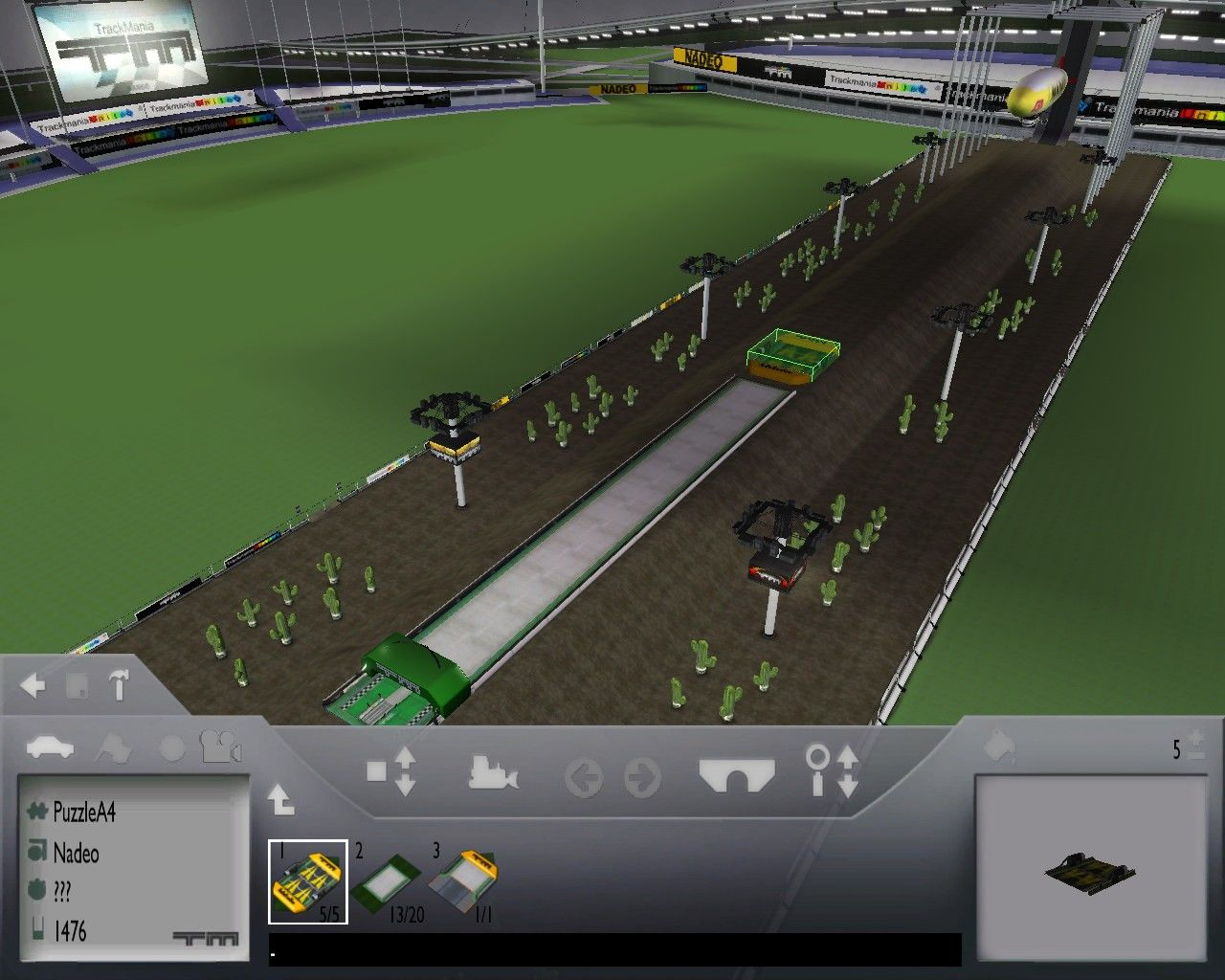 TrackMania United Windows Track editor in a Puzzle track