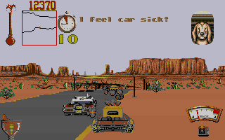 Moonshine Racers DOS Regular colour commentary indicates your driving prowess.