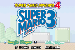 Super Mario Advance 4: Super Mario Bros. 3 Game Boy Advance Title Screen