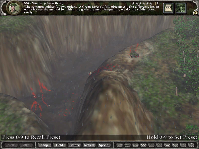 Green Berets Windows a deep valley