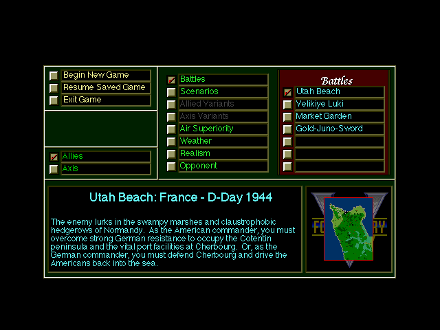 V for Victory: Battleset 1 - D-Day Utah Beach - 1944 DOS Campaign overview