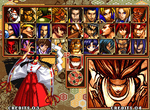 Samurai Shodown V Special Neo Geo Character selection.