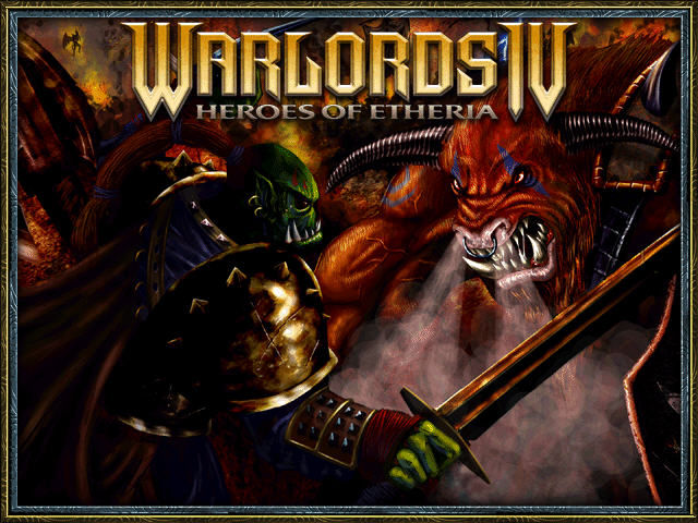 Warlords IV: Heroes of Etheria Windows Title screen