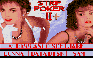 Strip Poker II Plus Atari ST Main menu
