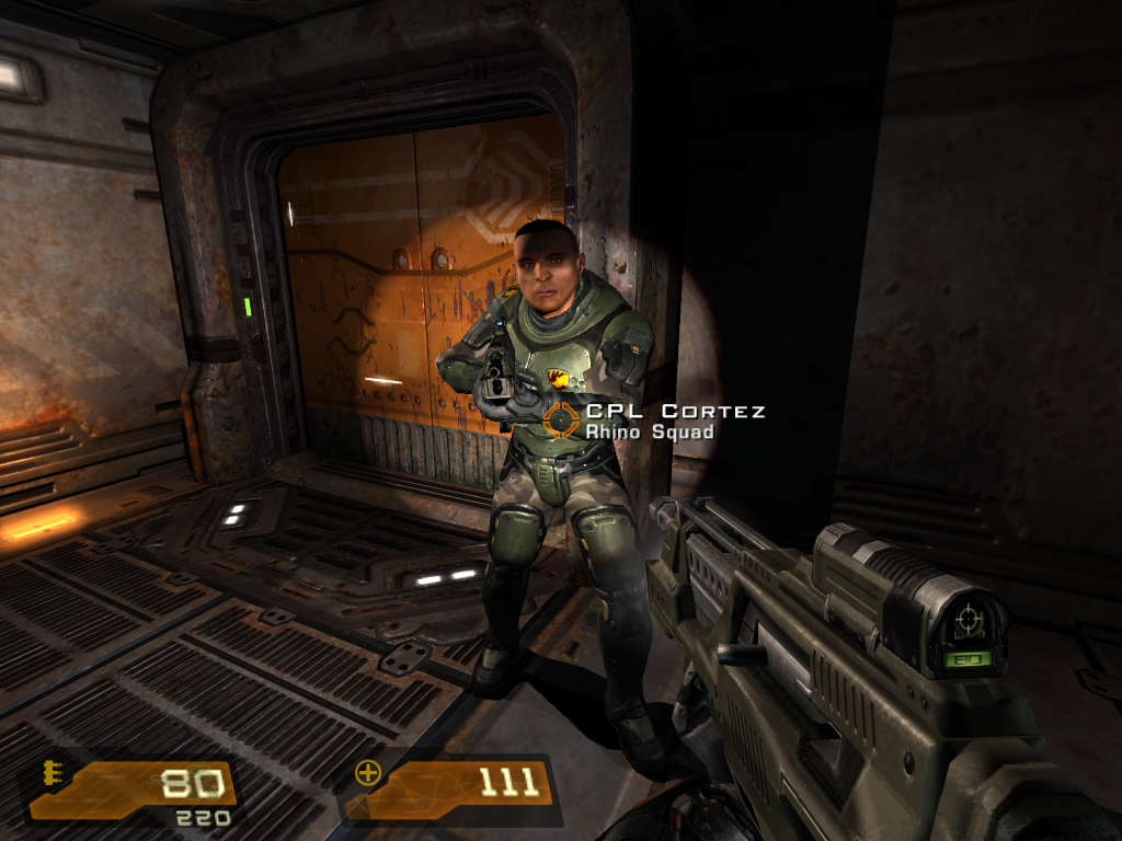 Quake 4 Windows Rhino Squad's sharpshooter Cortez. This guy never misses his targets and he takes them down mostly with one bullet. So why should I do all the difficult work if he's around?