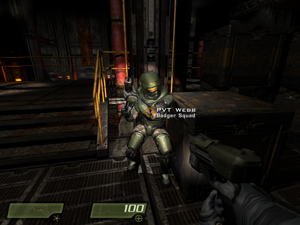 Quake 4 Windows After having his head rolling around in Quake 3 Arena and being heavily wounded in Doom 3, Webb thought that joining the army against the Strogg would be less deadlier.